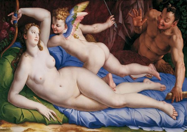 Bronzino: Venus, Cupido and Satyr. Greek and Roman Mythology. Fine Art Print/Poster. Sizes: A4/A3/A2/A1 (001972)